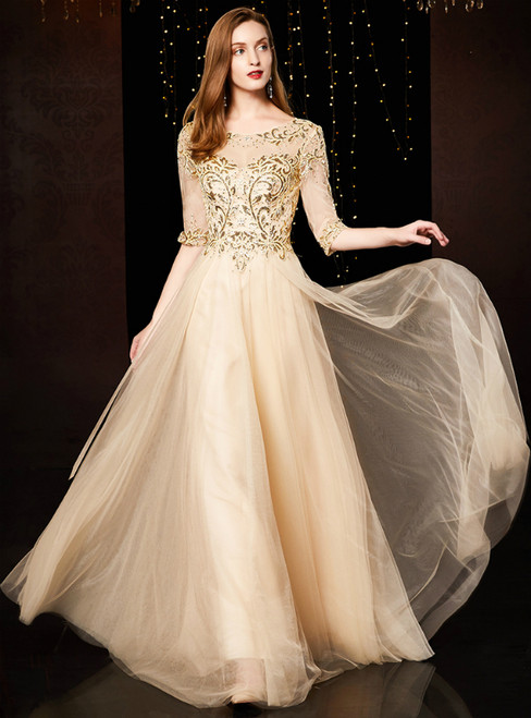A-Line Yellow Tulle Sequins Short Sleeve Floor Length Mother Of The Bride Dress