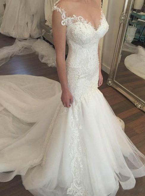 Vintage Lace 2017 Wedding Dresses Mermaid Beaded Bodice Illusion Sheer Neck