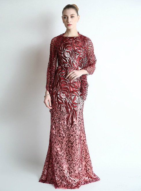 Burgundy Mermaid Sequins Long Mother Of The Bride Dress