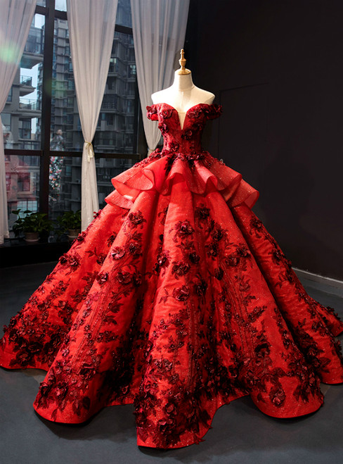 Burgundy Ball Gown Sequins Off the Shoulder 3D Flower Haute Couture Prom Dress
