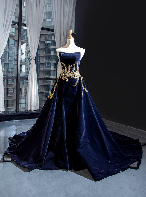 Navy Blue Velvet Strapless Backless Beading Prom Dress With Long Train