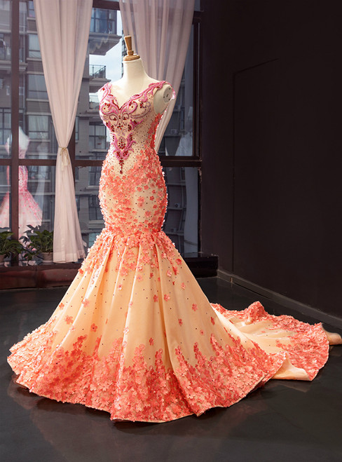 Luxury Yellow Mermaid Satin Orange Flower V-neck Beading Prom Dress