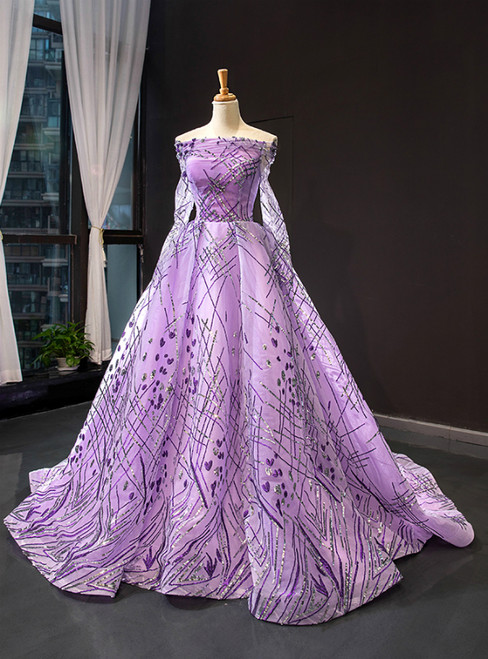 Purple Tulle Sequins Off the Shoulder Long Sleeve Prom Formal Dress