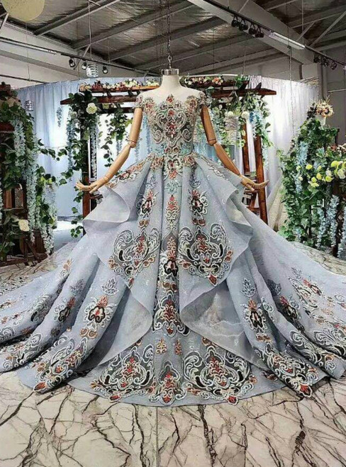 Gray Ball Gown Tulle Cap Sleeve Embroidery Luxury Wedding Dress With Long Train