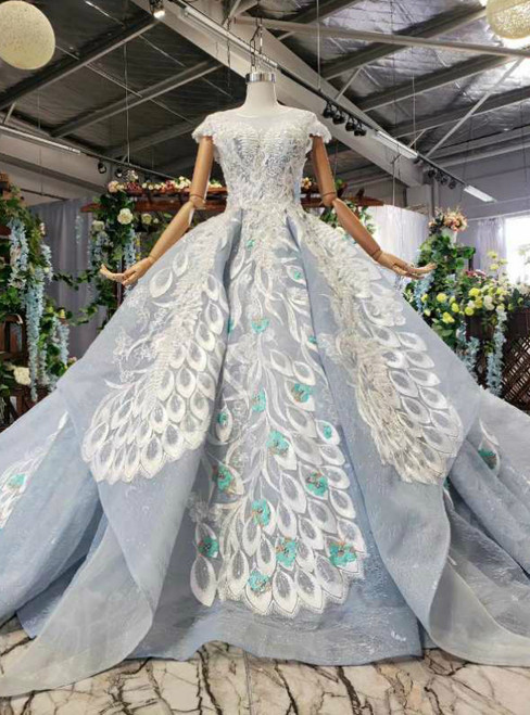 Blue Ball Gown Tulle Lace Appliques Cap Sleeve Luxury Wedding Dress With Beading