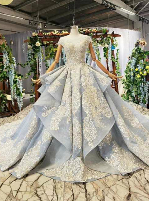 Blue Ball Gown Tulle Lace Apppliques Cap Sleeve Luxury Wedding Dress With Beading