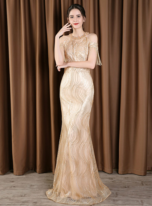 Gold Mermaid Cold Shoulder Sequins Long Mother Of The Bride Dress With Beading