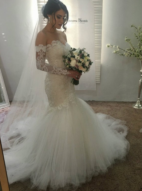 Gorgeous Mermaid Wedding Dresses 2017 Sweetheart Neckline Lace Applique
