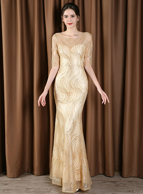 Gold Mermaid Sequins Short Sleeve Bateau Mother Of The Bride Dress