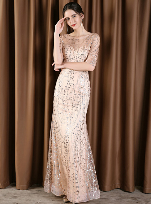 Gold Sequins Tulle Mermaid Short Sleeve Mother Of The Bride Dress With Sash