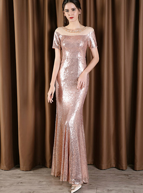 Pink Mermaid Sequins Short Sleeve Mother Of the Bride Dress With Beading