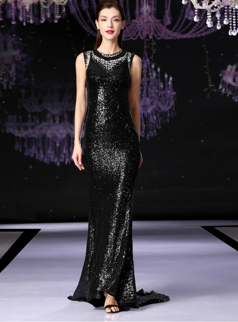 Black Mermaid Sequins Backless Mother Of The Bride Dress With Crystal