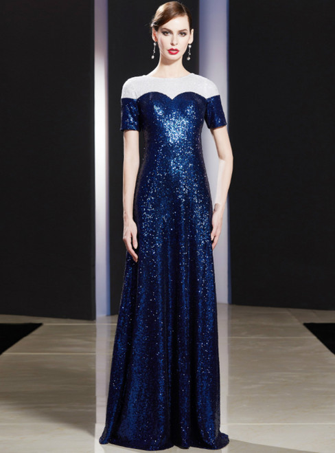 A-Line Blue Sequins Short Sleeve Long Mother of the Bride Dress