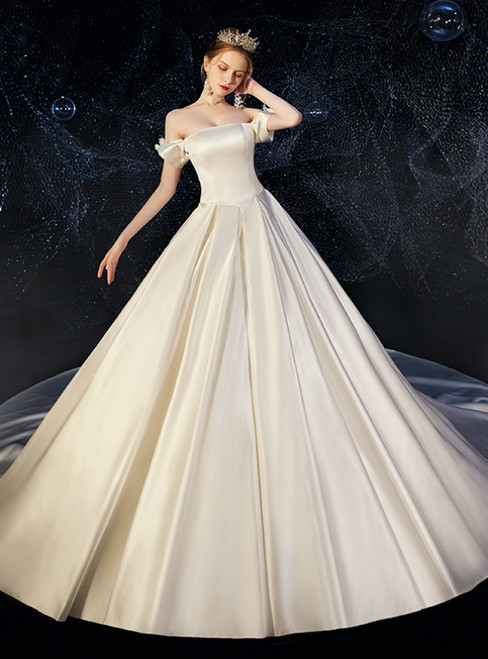 White Ball Gown Satin Off the Shoulder Sleeveless Wedding Dress With Train
