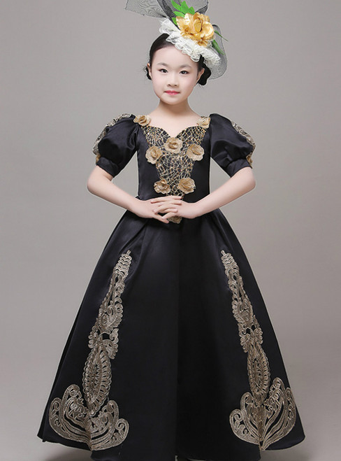 Black Satin Puff Sleeve Appliques Drama Show Vintage Gown Dress