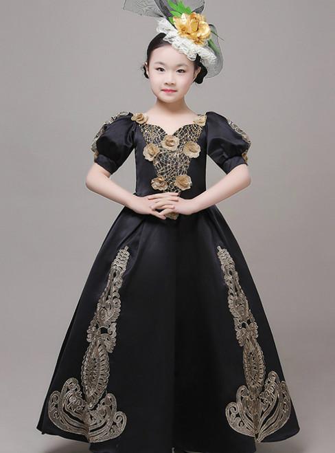 Black Satin Puff Sleeve Appliques Drama Show Vintage Gown Dress