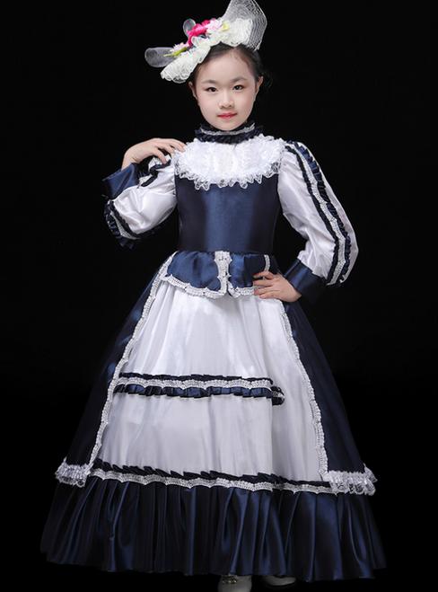 Navy Blue Satin Long Sleeve High Neck European Performance Palace Dress