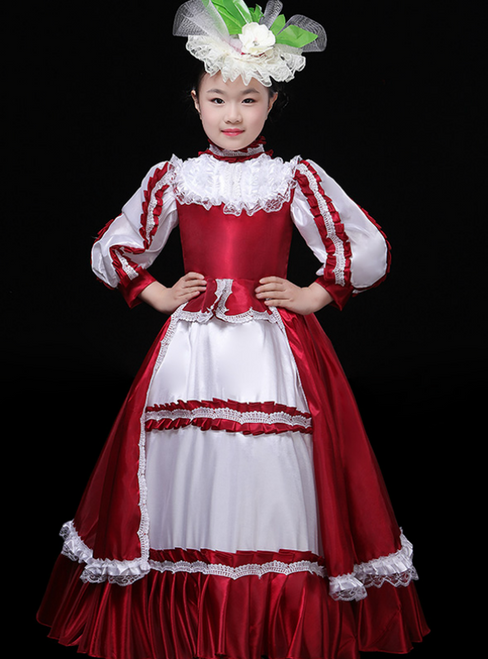 Red Satin Long Sleeve High Neck European Performance Palace Dress