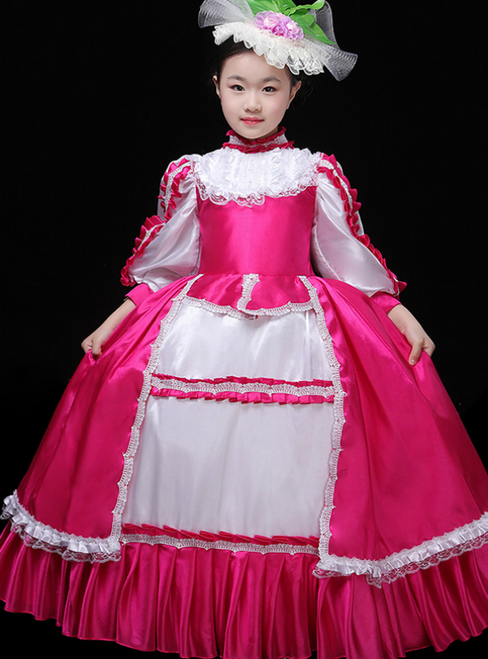 Pink Satin Long Sleeve High Neck European Performance Palace Dress