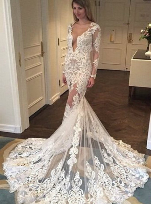 Gorgeous Wedding Dresses  Long Sleeves Wedding Dresses Mermaid Wedding Dress