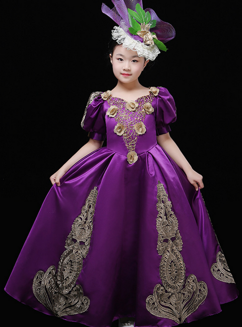 Purple Satin Puff Sleeve Appliques Drama Show Vintage Gown Dress