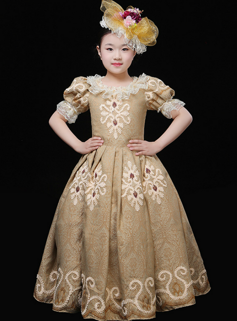 Champagne Ball Gown Lace Puff Sleeve Drama Show Vintage Gown Dress
