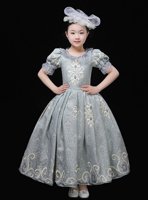 Blue Ball Gown Lace Puff Sleeve Drama Show Vintage Gown Dress