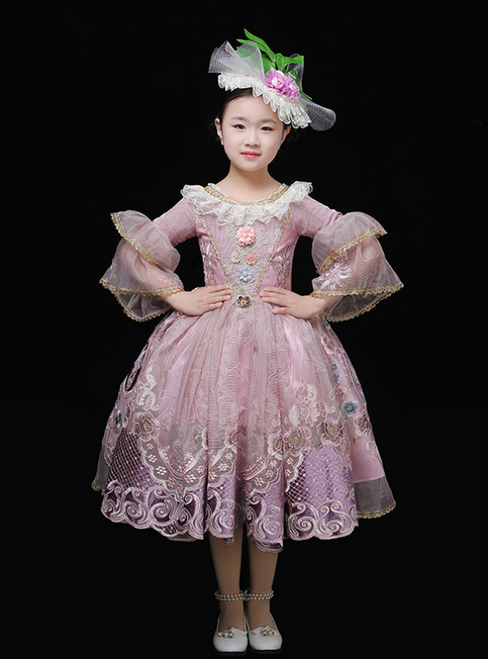 Pink Tulle Lace Puff Sleeve Appliques Drama Show Vintage Gown Dress