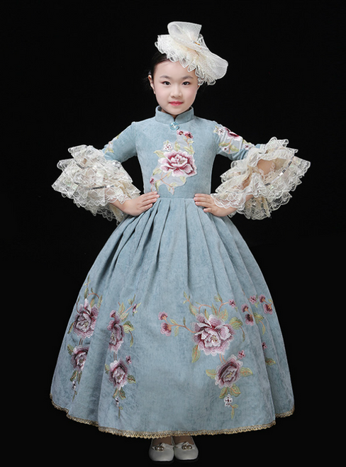 Blue Ball Gown High Neck Puff Sleeve Embroidery Appliques Drama Show Vintage Gown Dress