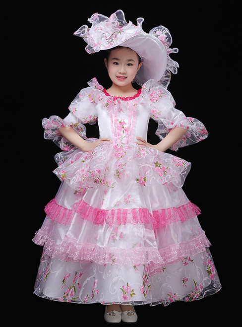 White Organza Pink Lace Puff Sleeve Long Drama Show Vintage Gown Dress