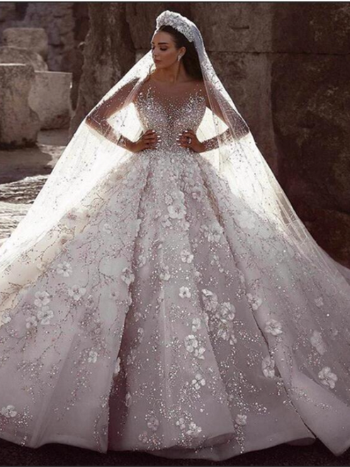 Sequins Beads Long Sleeve Wedding Dress With Long Train