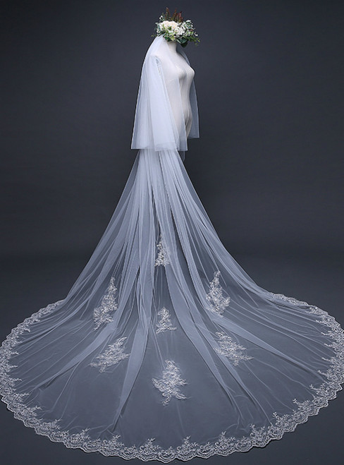 In Stock:Ship in 48 Hours White Tulle Lace Bridal Veil