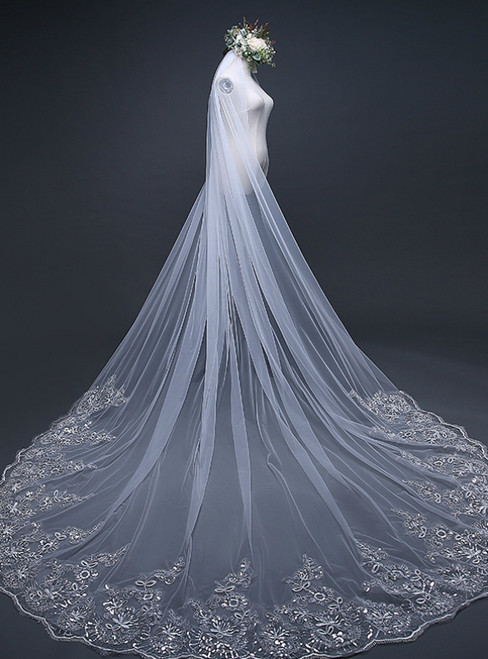 In Stock:Ship in 48 Hours Tulle Appliques Long Brides Veil