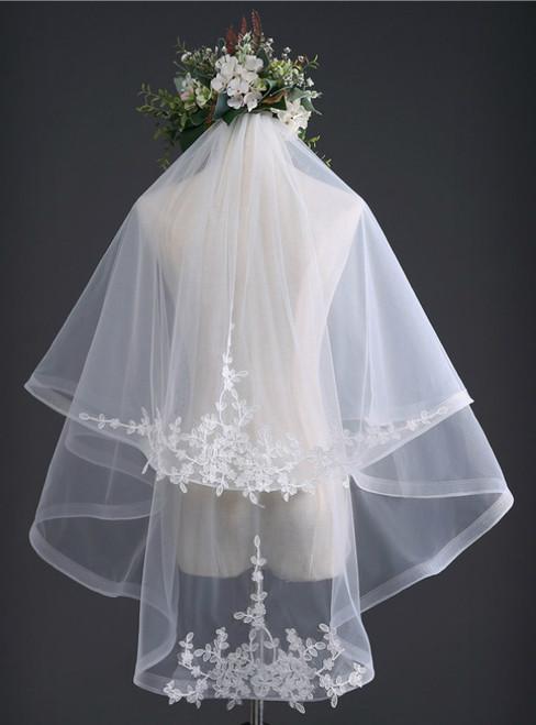 In Stock:Ship in 48 Hours Bride Head Yarn Double-layer Wedding Yarn
