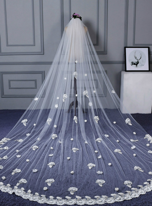 In Stock:Ship in 48 Hours White Tulle Flower Wedding Veil