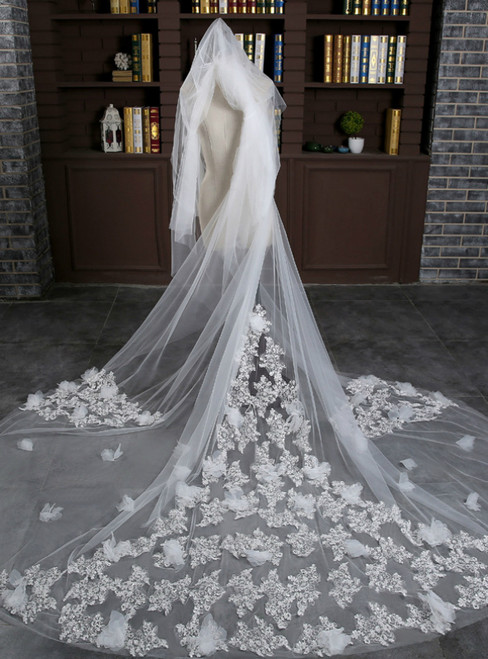 In Stock:Ship in 48 Hours White Tulle Flower Long Bride Veil