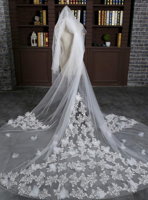 In Stock:Ship in 48 Hours White Tulle Flower Long Bride Veil