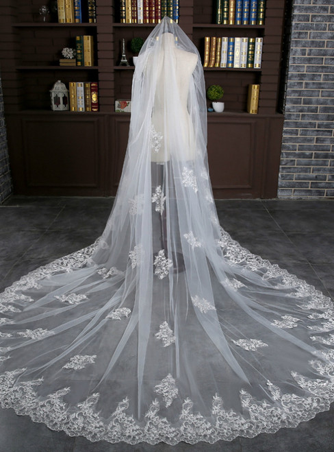 In Stock:Ship in 48 Hours White Tulle Lace Appliques Wedding Veil