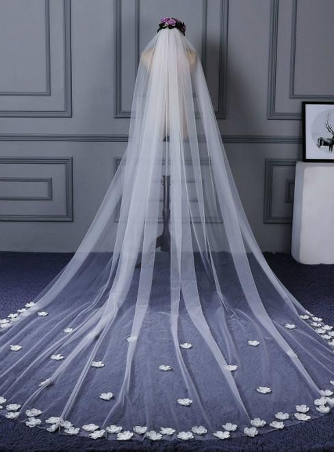 In Stock:Ship in 48 Hours White Tulle Flower Wedding Bride Veil