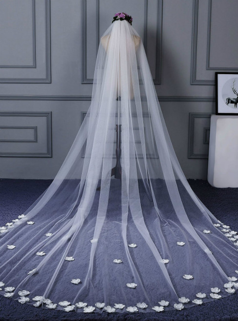 In Stock:Ship in 48 Hours White Tulle Flower Wedding Bride Veil