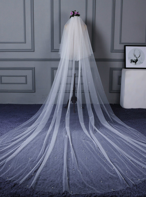 In Stock:Ship in 48 Hours White Tulle Wedding Veil With Beading