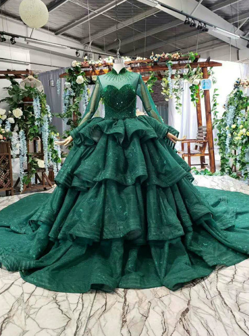 Green Ball Gown High Neck Long Sleeve Lace Luxury Wedding Dress With Long Train