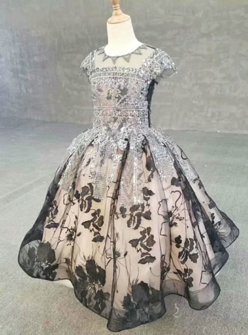 Champagne And Black Tulle Cap Sleeve Appliques Luxury Flower Girl Dress