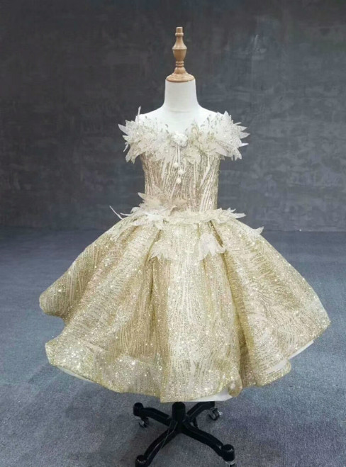 Gold Ball Gown Sequins Appliques Luxury Flower Girl Dress