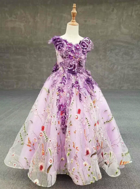 Purple Ball Gown Embroidery Appliques Tulle Luxury Flower Girl Dress