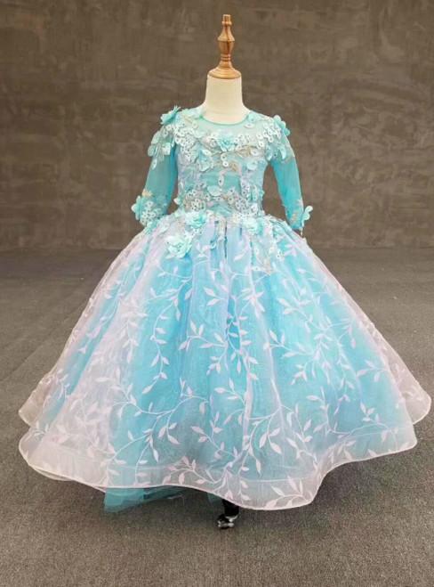 Blue Ball Gown Tulle Appliques Short Sleeve Flower Girl Dress