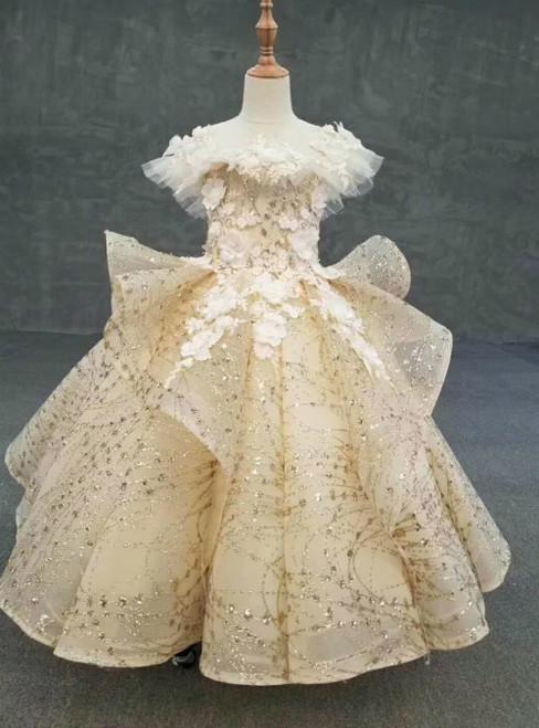 Gold Ball Gown Sequins Appliques Backless Flower Girl Dress