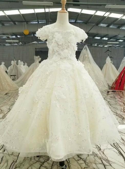 Light Champagne Tulle Sequins 3D Flower Luxury Flower Girl Dress
