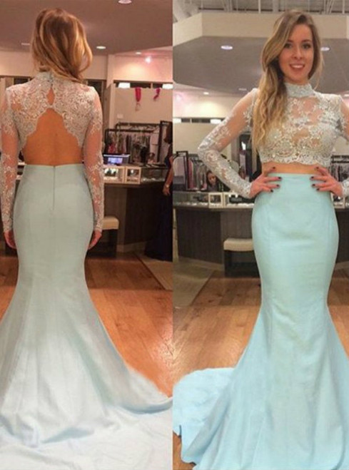 Green Mermaid High Neck Long Sleeve Backless Prom Dress