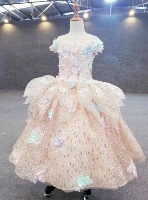 Pink Ball Gown Tulle Sequins Colorful 3D Flower Luxury Flower Girl Dress